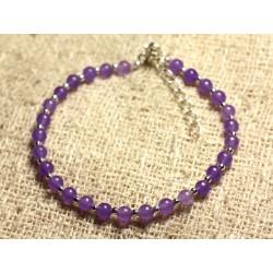 Bracelet Argent 925 et Pierre - Jade violet mauve 4mm