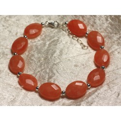 Bracelet Argent 925 et Pierre - Jade Orange Ovales Facettés 14x10mm