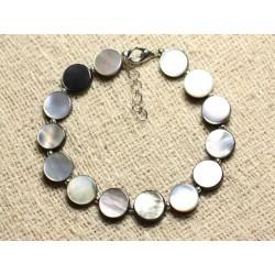 Bracelet Argent 925 et Nacre Noire Palets 10mm