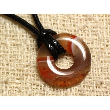 Collier Pendentif en Pierre - Agate rouge orange Donut 20mm