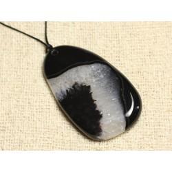 Collier Pendentif en Pierre - Agate et Quartz Noir et Blanc Goutte 60mm N6