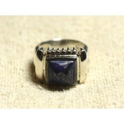 N123 - Bague Argent 925 et Pierre - Lapis Lazuli Carré Facetté 10mm