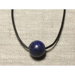 Collier Pendentif Pierre semi précieuse - Lapis Lazuli Boule 14mm