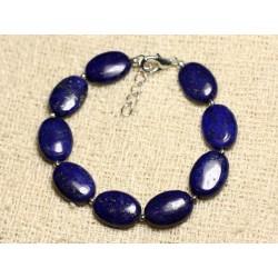 Bracelet Argent 925 et Pierre - Lapis Lazuli Ovales 14mm