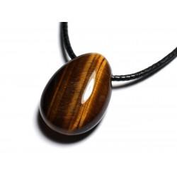 Collier Pendentif Pierre semi précieuse - Oeil de Tigre Goutte 25mm