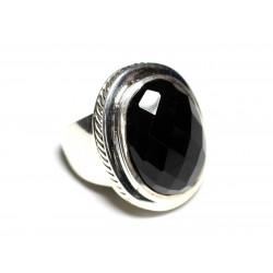 N117 - Bague Argent 925 et Onyx Noir Ovale facetté 20x15mm