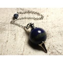 Pendule Métal Argenté Rhodium et Pierre semi précieuse - Lapis Lazuli Boule 25mm