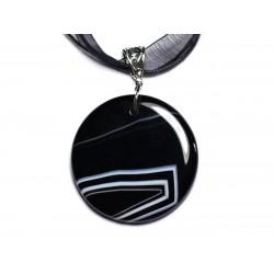 N1 - Collier Pendentif en Pierre - Agate noire et blanche rond 47mm