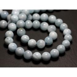 10pc - Perles de Pierre - Aigue Marine Boules 6mm 4558550014771
