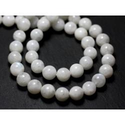 4pc - Perles de Pierre - Pierre de Lune Blanche Arc en Ciel Boules 7-8mm - 8741140022386