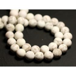 10pc - Perles de Pierre - Magnésite Mat Sablé Givré Boules 8mm - 8741140015791