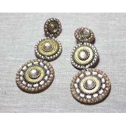 Boucles d'Oreilles Clips Résine CCB Pendantes Ronds Strass 90mm - Ethnique Vintage designer francais - 8741140026544