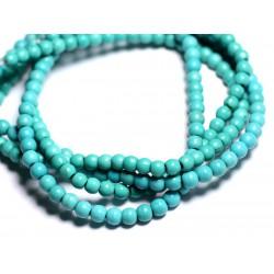 Fil 39cm 92pc env - Perles de Pierre Turquoise Synthèse Reconstituée Boules 4mm Bleu Turquoise