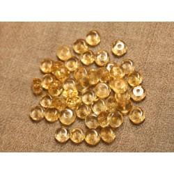 5pc - Perles de Pierre - Citrine Rondelles Facettées 7x4mm 4558550027511