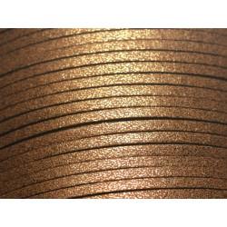 5 mètres - Cordon Lanière Suédine 3x1.5mm Noir Simili cuir lisse
