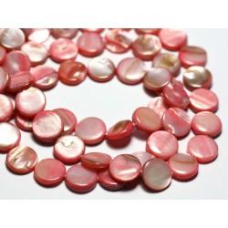Fil 39cm 39pc env - Perles Nacre Naturelle Palets 10mm Jaune clair pastel irisé