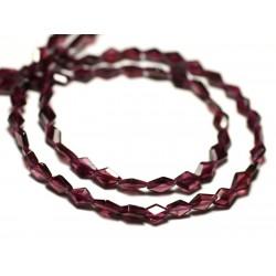 10pc - Perles de Pierre - Grenat Ovales Polygones Facettés 6-8mm - 8741140022614