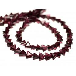 20pc - Perles de Pierre - Grenat Triangles Ecussons Facettés 5-6mm - 8741140022645