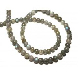 Fil 35cm 98pc env - Perles de Pierre - Pierre de Soleil Boules 3.5-4mm - 8741140025721