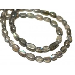 Fil 39cm 52pc env - Perles de Pierre - Labradorite Olives 6-8mm