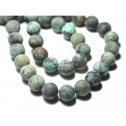 5pc - Perles de Pierre - Turquoise d'Afrique Boules 8mm Mat Sablé Givré - 8741140022430