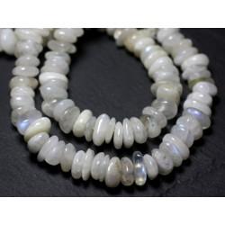 Fil 39cm 63pc env - Perles de Pierre - Pierre de Lune blanche arc en ciel Boules 6mm