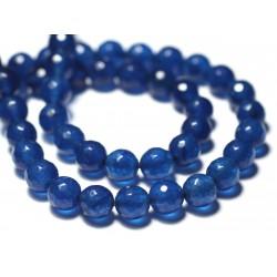 Fil 39cm 37pc env - Perles de Pierre - Jade Boules Facettées 10mm Bleu roi