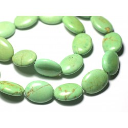 Fil 39cm 18pc env - Perles de Pierre Turquoise Synthèse Ovales 20x15mm Vert