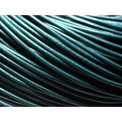 5 mètres - Cordon Cuir Rond 2mm Bleu clair Turquoise - 8741140014640