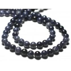 Fil 39cm 66pc env - Perles de Pierre - Saphir Bleu Boules 6mm