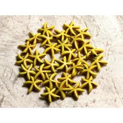 20pc - Perles Turquoise synthèse Etoiles de Mer 14mm Jaune 4558550005151