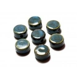 4pc - Perles Céramique Porcelaine Palets 15mm Bleu Turquoise - 8741140010338
