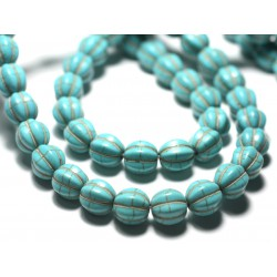 20pc - Perles de Pierre - Turquoise synthèse Cubes 8x8mm Noir - 7427039727174