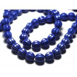Fil 39cm 39pc env - Perles Turquoise synthèse Boules Fleurs 9-10mm Bleu Turquoise