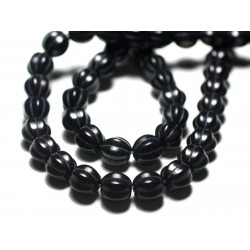 20pc - Perles Turquoise synthèse Boules Fleurs 9-10mm Bleu Nuit - 7427039727235