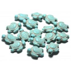 Fil 39cm 22pc env - Perles de Pierre Turquoise synthèse - Tortues 19x15mm Blanc