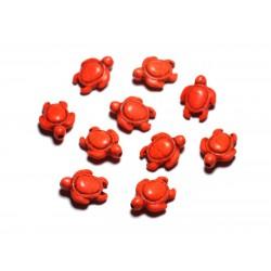 Fil 39cm 22pc env - Perles de Pierre Turquoise synthèse - Tortues 19x15mm Jaune