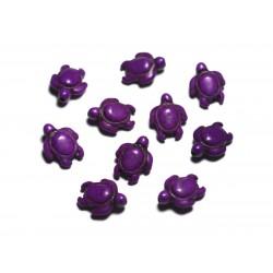 Fil 39cm 22pc env - Perles de Pierre Turquoise synthèse - Tortues 19x15mm Violet Rose Fuchsia