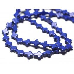 Fil 39cm 35pc env - Perles Pierre Turquoise Synthèse Reconstituée Croix 10x8mm Bleu Turquoise