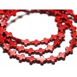 20pc - Perles Turquoise synthèse Croix 10x8mm Rouge Brique - 4558550000187