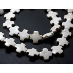 Fil 39cm 25pc env - Perles de Pierre Turquoise Synthèse Croix 15mm Blanc crème