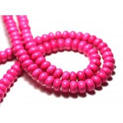 35pc - Perles de Pierre Turquoise Synthèse Rondelles 6x4mm Rouge - 7427039728041