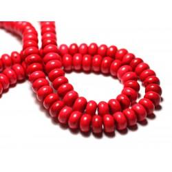 40pc - Perles de Pierre Turquoise Synthèse Rondelles 4x2mm Rose Fluo - 7427039728126