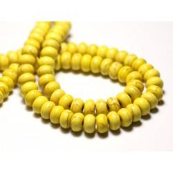 40pc - Perles de Pierre Turquoise Synthèse Rondelles 4x2mm Blanc - 7427039728140