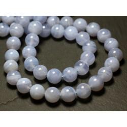 2pc - Perles de Pierre - Calcédoine Bleue Boules 8mm - 7427039728829