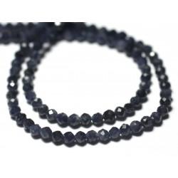 10pc - Perles de Pierre - Saphir Bleu Boules Facettées 2mm - 7427039728942