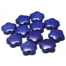 5pc - Perles de Pierre Turquoise Synthèse Fleurs 20mm Noir - 7427039729628