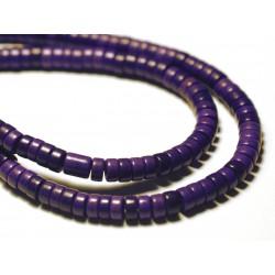 Fil 39cm 180pc env - Perles de Pierre Turquoise Synthèse Rondelles Heishi 4x2mm Rose Fluo