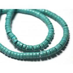 Fil 39cm 180pc env - Perles de Pierre Turquoise Synthèse Rondelles Heishi 4x2mm Vert