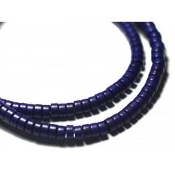 Fil 39cm 180pc env - Perles de Pierre Turquoise Synthèse Rondelles Heishi 4x2mm Bleu Turquoise